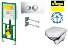 Система инсталляции Viega Eco Plus 660321 в комплекте с подвесным унитазом Gustavsberg Nordic 2330 с сиденьем