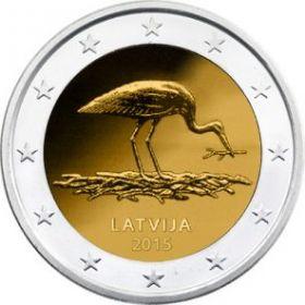 Черный аист  2 евро Латвия  2015