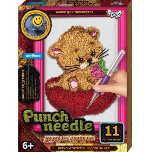 Ковровая вышивка Punch Needle. Котёнок