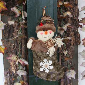 Новогодний носок зеленый. Снеговик