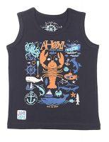 Майка для мальчика цвет темно-синий с принтом на тему моря Черубино