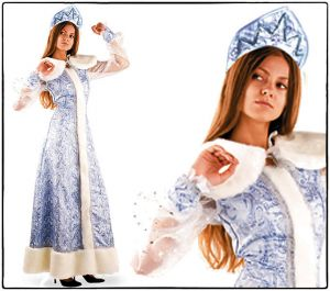 костюм Снегурочки взрослый шелк