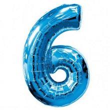 """Фигура """"6""""  (40""""/102 см) синий"""