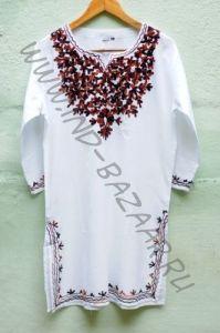 Женская индийская курта с вышивкой, L (коричневой)