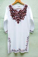 Женская индийская белая курта с коричневой вышивкой, купить с доставкой из Индии