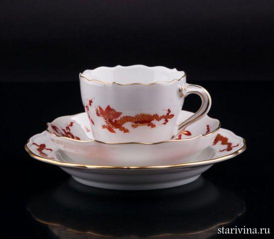 Изображение Кофейное трио Красный Дракон, Meissen, Германия