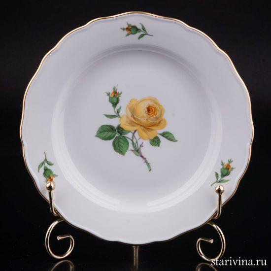 Фарфоровая тарелка Желтая Роза производства Meissen, Германия