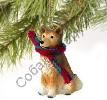 Финский шпиц новогоднее украшение «Теплый шарф»