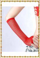 Длинные сетчатые красные перчатки