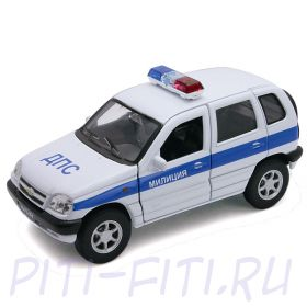 WELLY. Игрушка модель машины 1:34-39 Chevrolet Niva МИЛИЦИЯ ДПС.