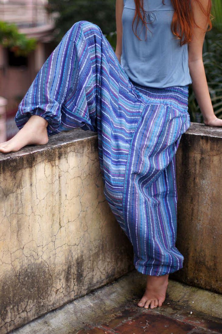Разные цвета! Женские штаны алладины в полоску