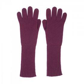 длинные кашемировые перчатки женские (100% драгоценный кашемир) , цвет Свекольный CASHMERE RIB CUFF GLOVE Beetroot