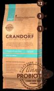 Grandorf Living Probiotics Сухой низкозерновой корм класса холистик с живыми пробиотиками 4 вида мяса с бурым рисом для собак всех пород (12 кг)