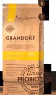 Grandorf Living Probiotics Сухой низкозерновой корм класса холистик с живыми пробиотиками 4 вида мяса с бурым рисом для мини пород (1 кг)