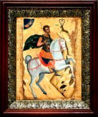 Евстафий Плакида (19х22), темный киот