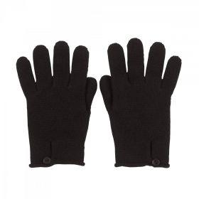 кашемировые перчатки женские на пуговке (100% драгоценный кашемир) BUTTON LOOP , классический чёрный цвет