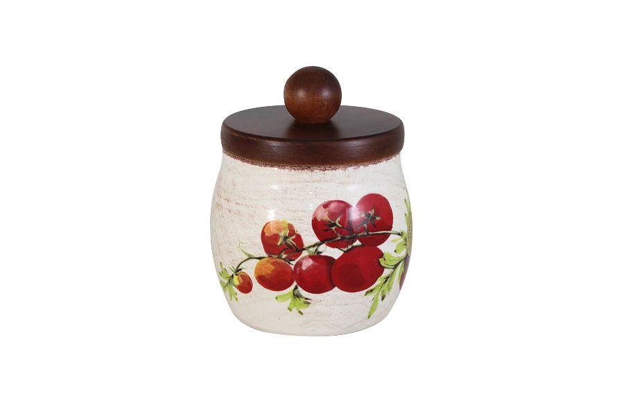 """Банка для сыпучих продуктов с деревянной крышкой """"Овощное ассорти"""", малая, h15 см"""