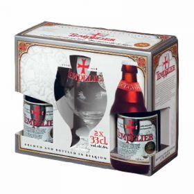 Набор пивной Tempelier (Тамплиер) 2 бут * 0.33 л + фирменный бокал в подарочной упаковке