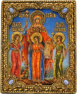 """Икона именная """"Вера, Надежда, Любовь и мать их Софья"""" 19 х 23 см, роспись по дереву, самоцветы"""