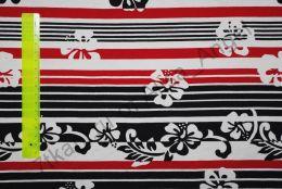 Цветы на красно-черных полосках кулирка ринг отрез 0,65м