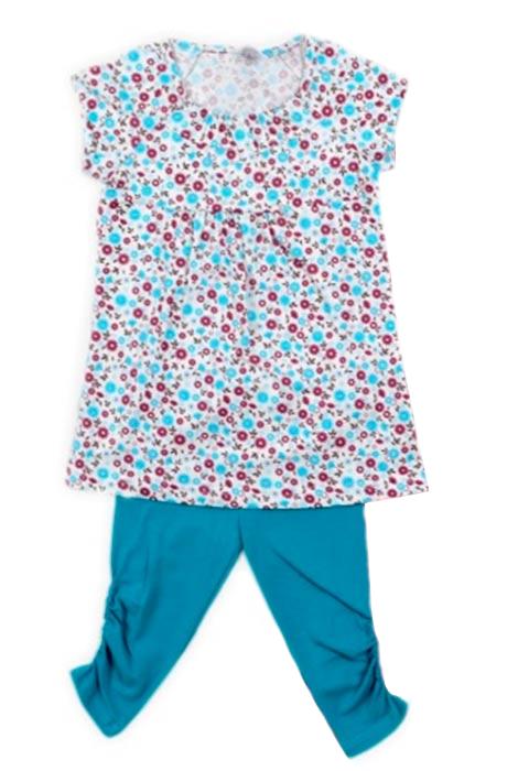 Блузка и бирюзовые бриджи для девочки