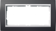Рамка Gira Event Антрацит 2 поста без перегородки цвет вставки Белый глянцевый