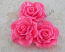 "кабошон ""Роза"" 18мм ярко-розовая"