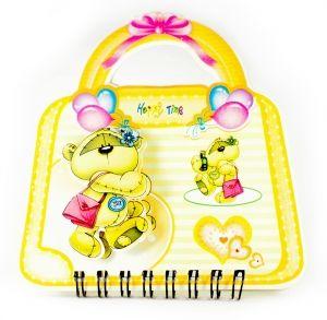 """Блокнот """"Мишка"""" на сумочке желтый"""