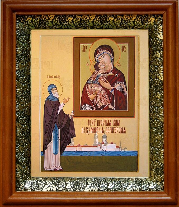 Владимирская Селигерская икона БМ (19х22), светлый киот