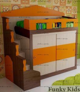 Кровать-чердак Фанки Хоум 11005 (со шкафом купе)