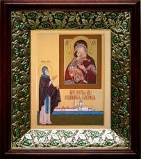 Владимирская Селигерская икона БМ (21х24), киот со стразами