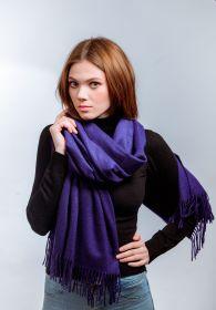 Роскошный большой плотный шарф, высокая плотность, 100 % драгоценный кашемир - Королевский Фиолетовый Royal Purple(премиум)