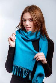 шарф 100% шерсть ягнёнка , модный цвет Kingfisher (Небесно-бирюзовый) ,плотность 6