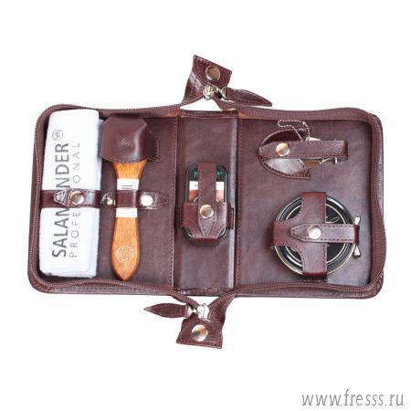 Дорожный набор для ухода за обувью в несессере из натуральной кожи