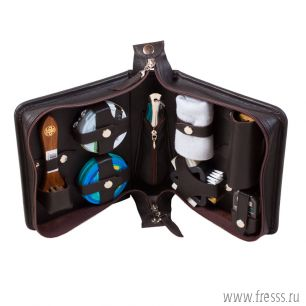 Дорожный набор для ухода за обувью в несессере из натуральной кожи Премиум