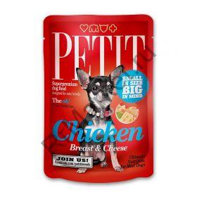 Brit Petit Пауч для взрослых собак мелких пород (куриная грудка с сыром), 80гр