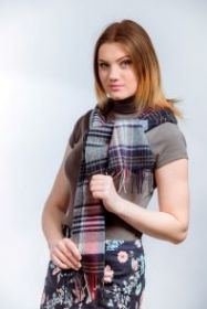 """шотландский шерстяной шарф Новая Клетка """"Графитный, Сизый, Терракотовый"""" Red, Grey & Yellow 100% шерсть ягнёнка , ,плотность 6"""