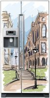 наклейка на холодильник -Город. скетч 2
