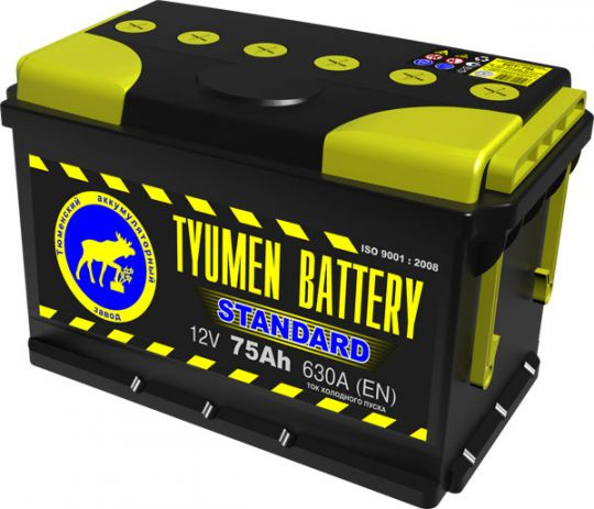 Автомобильный аккумулятор АКБ Тюмень (TYUMEN BATTERY) STANDARD 6CT-75L 75Aч О.П. дата 01.18