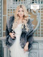 Манто, пончо из серебристо-черной лисы натуральный мех купить Москва Weddingfur.ru
