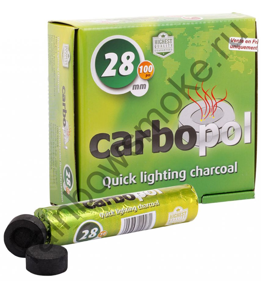 Уголь для кальяна Carbopol 28 мм (Коробка)