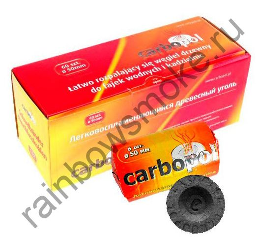 Уголь для кальяна Carbopol 50 мм (Коробка)