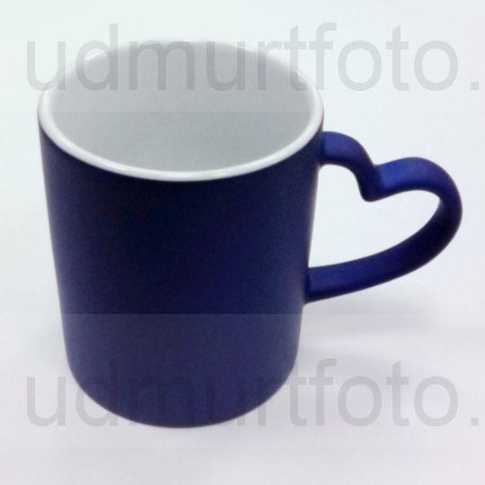 Кружка ХАМЕЛЕОН синяя с ручкой в виде СЕРДЦА .Цена за кружку с Вашим изображением