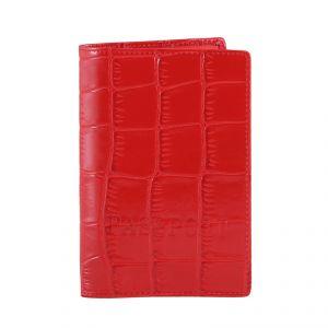Обложка для паспорта женская 42ОЖ_90062_20_1309П; кожа; рубиновый