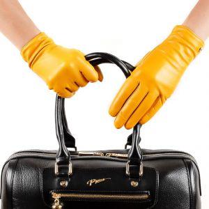 Перчатки женские 29К_40069_10_П; кожа; желтый (Размер 6,5)