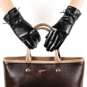Перчатки женские 29К_40044_10_П; кожа; черный (Размер 6,5)