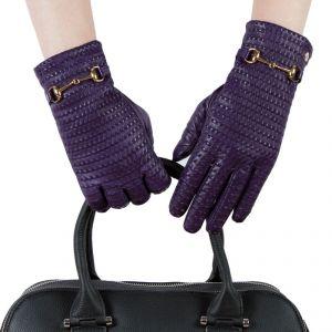 Перчатки женские 29К_40042_12/10_1309П; кожа; фиолетовый (Размер 6,5)