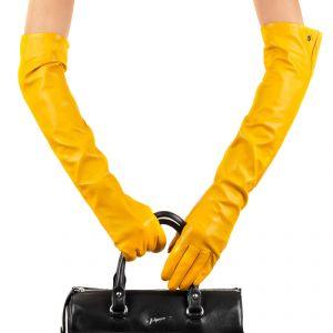 Перчатки женские 29К_40067_10_П; кожа; желтый (Размер 7,5)