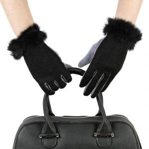 Перчатки женские 30Ш_35011_1309С; шерсть; черный/серый (Размер L)