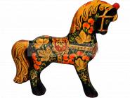 Игрушка сувенир «Чёрный конь» Хохлома Ручная работа